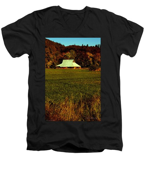Men's V-Neck T-Shirt featuring the photograph Barn In The Style Of The 60s by Mick Anderson