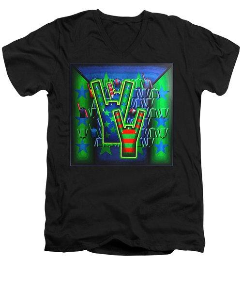 Men's V-Neck T-Shirt featuring the painting Basilea Star  by Mark Howard Jones