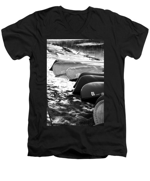 Men's V-Neck T-Shirt featuring the photograph Beached Kayaks by Julia Wilcox
