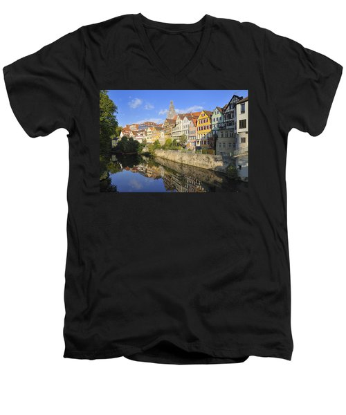 Beautiful German Town Tuebingen - Neckar Waterfront Men's V-Neck T-Shirt