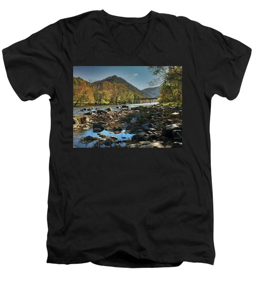 Beautiful Mountaina Men's V-Neck T-Shirt by Janice Spivey