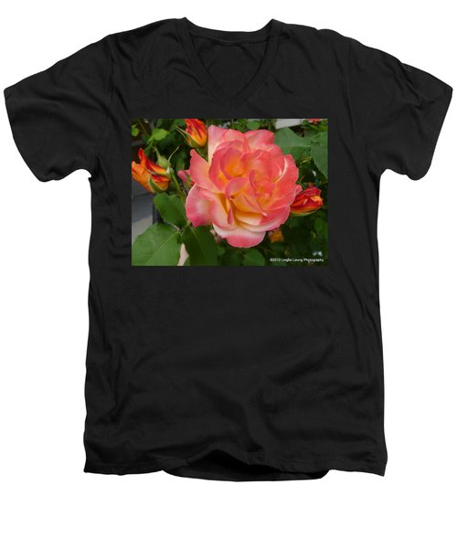 Men's V-Neck T-Shirt featuring the photograph Beautiful Rose With Buds by Lingfai Leung