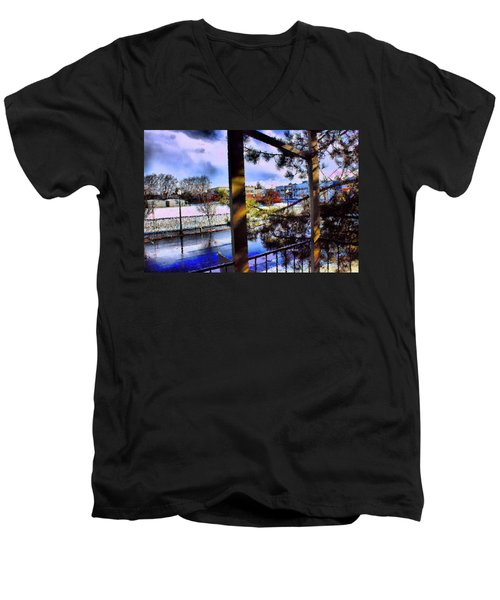 Men's V-Neck T-Shirt featuring the mixed media Beaverton  H.s. Winter 2011 by Terence Morrissey