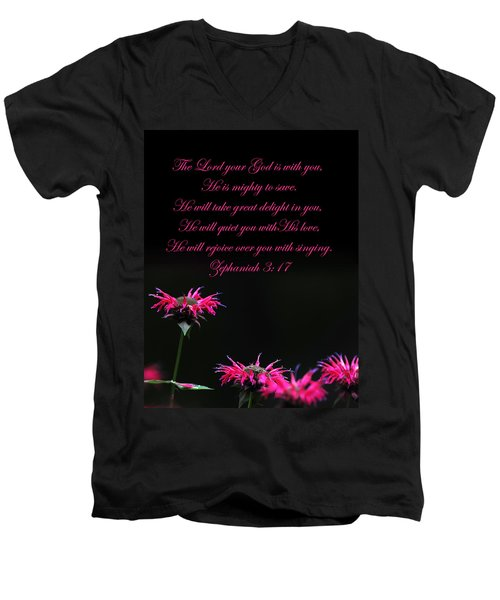 Men's V-Neck T-Shirt featuring the photograph Bee Balm And Bible Verse by Randall Branham
