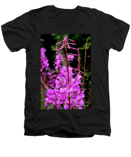 Men's V-Neck T-Shirt featuring the photograph Bee On Fireweed In Alaska by Kathy  White