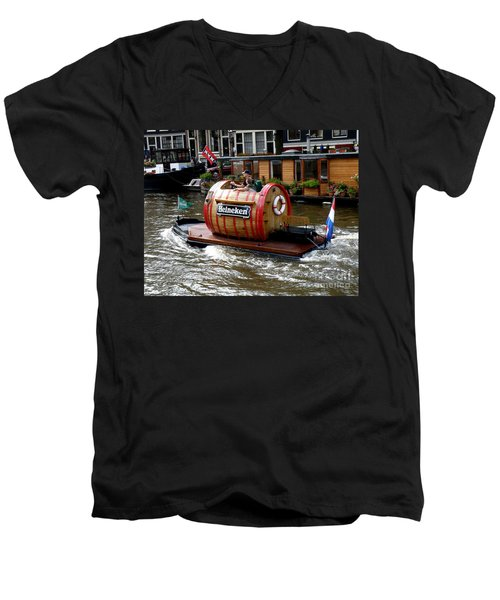 Beer Boat Men's V-Neck T-Shirt by Lainie Wrightson