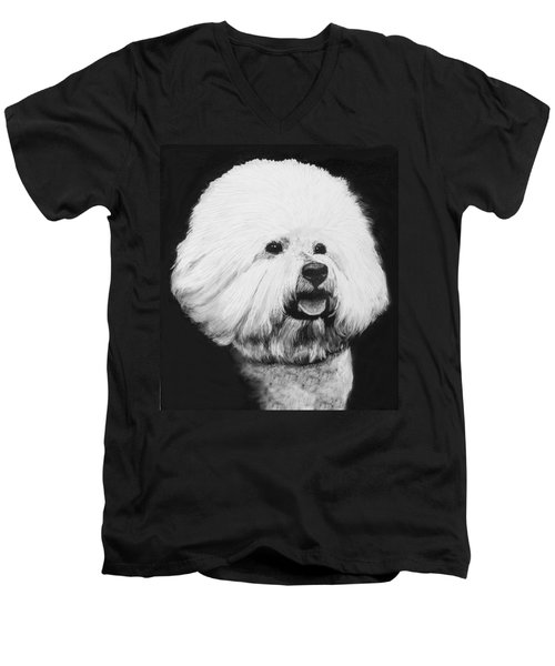 Men's V-Neck T-Shirt featuring the drawing Bichon Frise by Rachel Hames