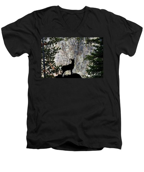 Men's V-Neck T-Shirt featuring the photograph Big Horn Sheep Silhouette by Dan Friend