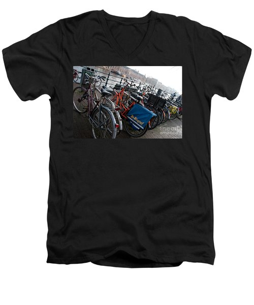 Bikes In Amsterdam Men's V-Neck T-Shirt by Carol Ailles