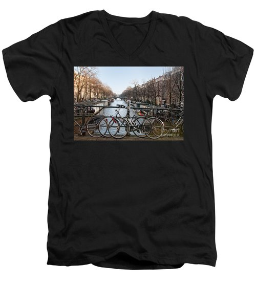 Bikes On The Canal In Amsterdam Men's V-Neck T-Shirt by Carol Ailles
