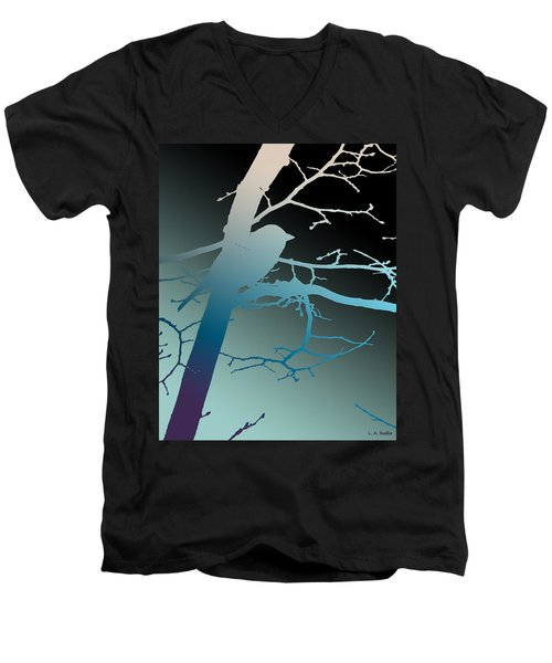 Bird At Twilight Men's V-Neck T-Shirt by Lauren Radke