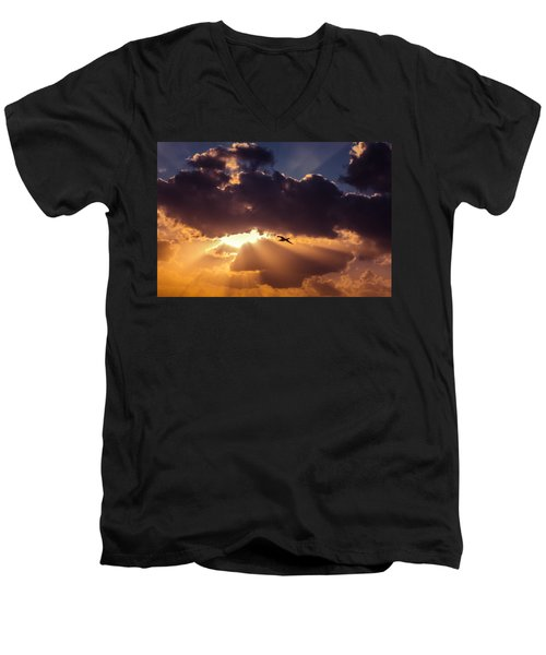 Bird In Sunrise Rays Men's V-Neck T-Shirt