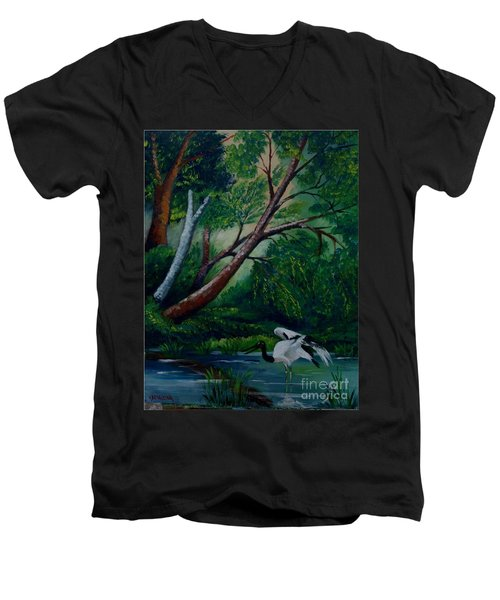 Bird In The Swamp Men's V-Neck T-Shirt