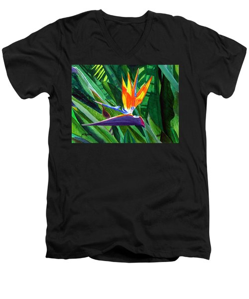 Bird-of-paradise Men's V-Neck T-Shirt by Mike Robles