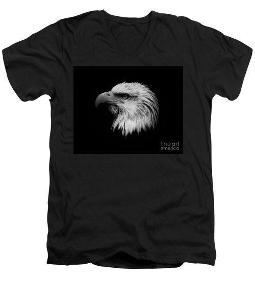 Men's V-Neck T-Shirt featuring the photograph Black And White Eagle by Steve McKinzie