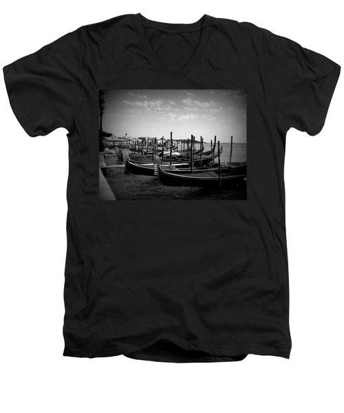 Men's V-Neck T-Shirt featuring the photograph Black And White Gondolas by Laurel Best