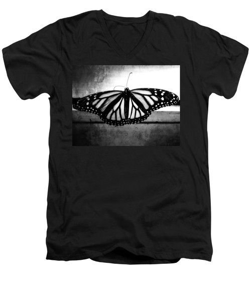 Men's V-Neck T-Shirt featuring the photograph Black Butterfly by Julia Wilcox