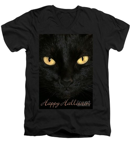 Black Cat Halloween Card Men's V-Neck T-Shirt