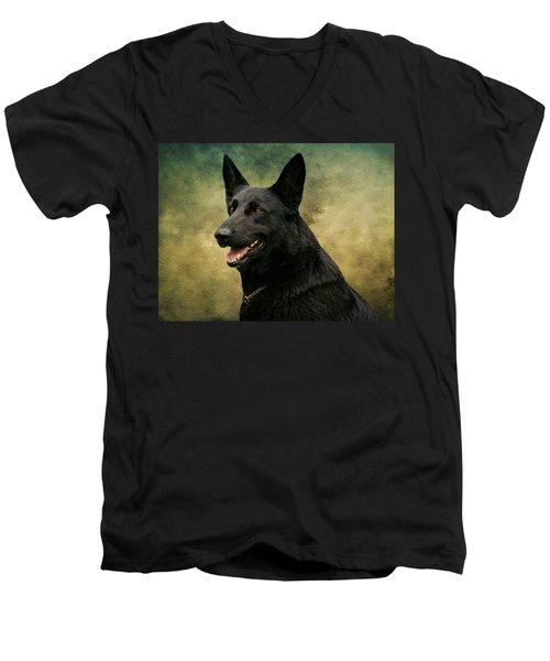 Black German Shepherd Dog IIi Men's V-Neck T-Shirt