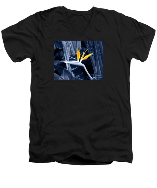 Blue Bird Of Paradise Men's V-Neck T-Shirt by Rebecca Margraf