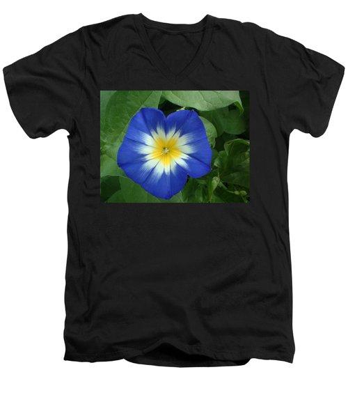 Men's V-Neck T-Shirt featuring the photograph Blue Burst by Bonfire Photography