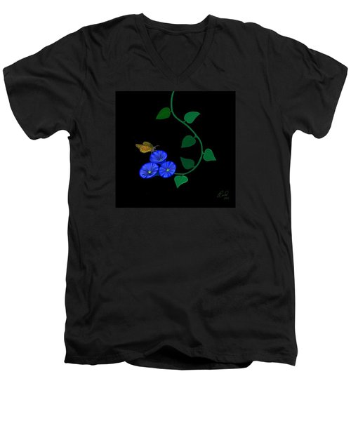 Men's V-Neck T-Shirt featuring the painting Blue Flower Butterfly by Rand Herron
