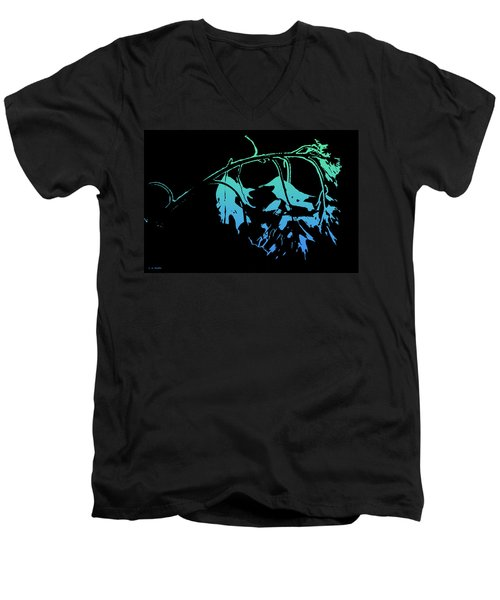 Men's V-Neck T-Shirt featuring the photograph Blue On Black by Lauren Radke