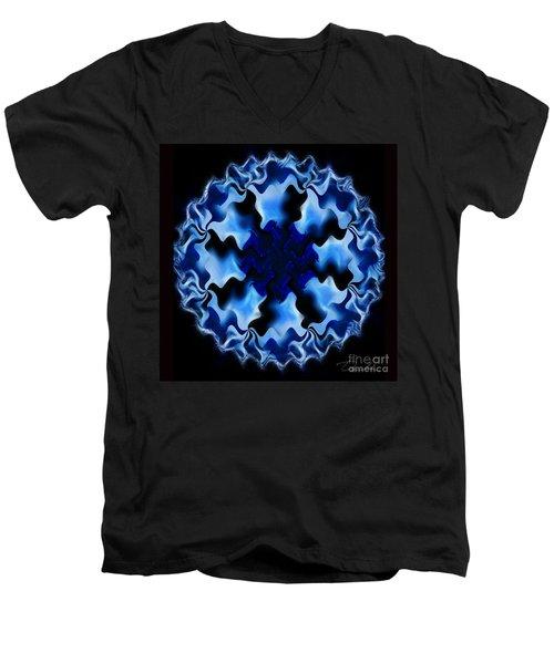 Blue Ripple Men's V-Neck T-Shirt by Danuta Bennett