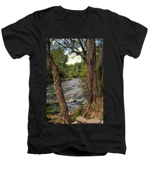 Men's V-Neck T-Shirt featuring the photograph Blue Spring Branch by Marty Koch