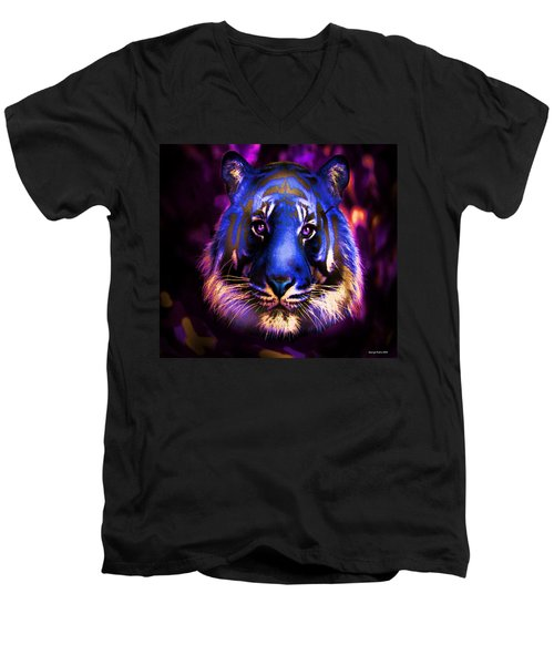 Men's V-Neck T-Shirt featuring the photograph Blue Tiger Of The Purple Forest by George Pedro
