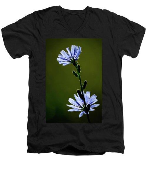 Blue Wildflower Men's V-Neck T-Shirt