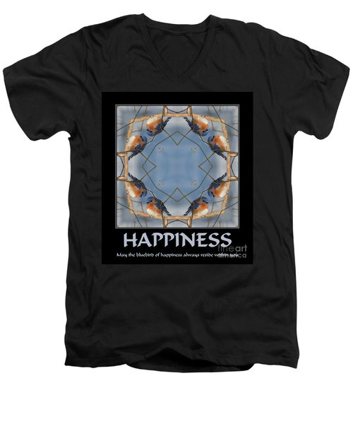 Men's V-Neck T-Shirt featuring the photograph Bluebird Kaleidoscope Happiness by Smilin Eyes  Treasures