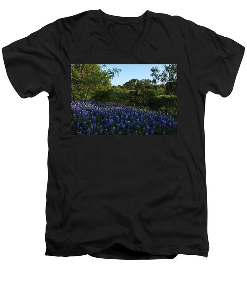 Bluebonnets At The Pond Men's V-Neck T-Shirt