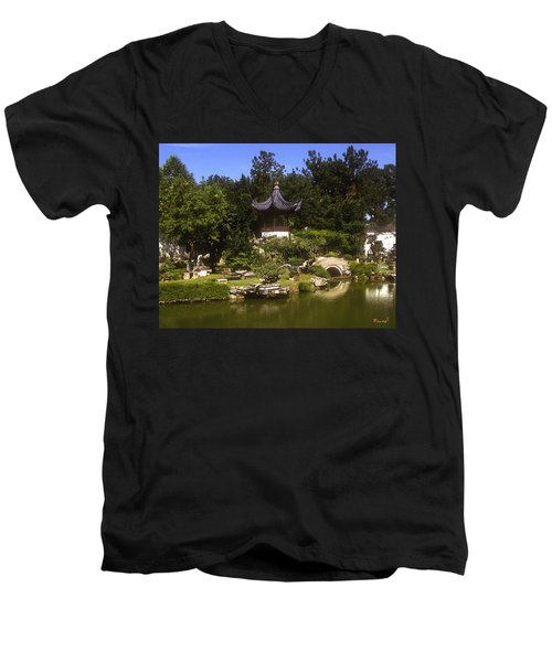 Men's V-Neck T-Shirt featuring the photograph Bonzai Garden And Gazebo 19l by Gerry Gantt