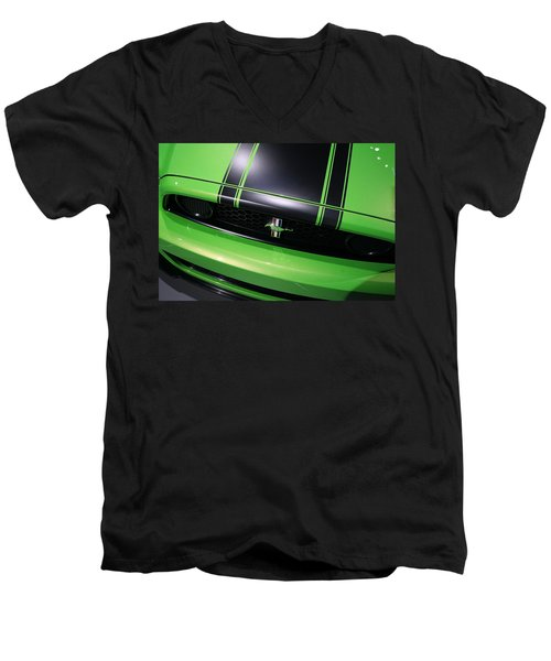 Men's V-Neck T-Shirt featuring the photograph Boss 302 Ford Mustang by Gordon Dean II