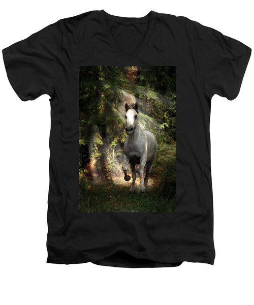 Breaking Dawn Gallop Men's V-Neck T-Shirt by Wes and Dotty Weber
