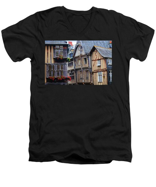 Men's V-Neck T-Shirt featuring the photograph Brittany Buildings by Dave Mills