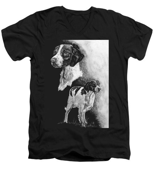 Men's V-Neck T-Shirt featuring the drawing Brittany by Rachel Hames