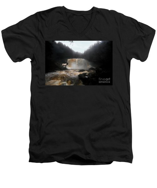 Men's V-Neck T-Shirt featuring the photograph Bull Elk In Front Of Waterfall by Dan Friend