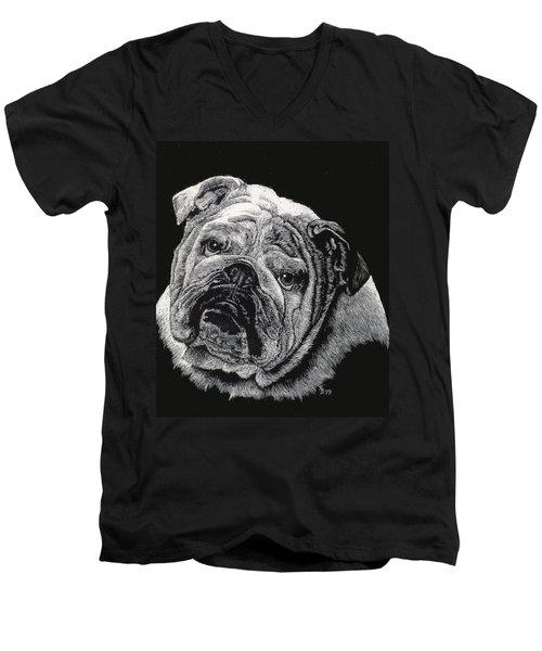 Men's V-Neck T-Shirt featuring the drawing Bulldog by Rachel Hames