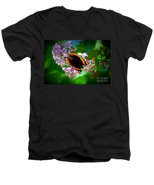 Butterfly On Lilac Men's V-Neck T-Shirt by Kevin Fortier