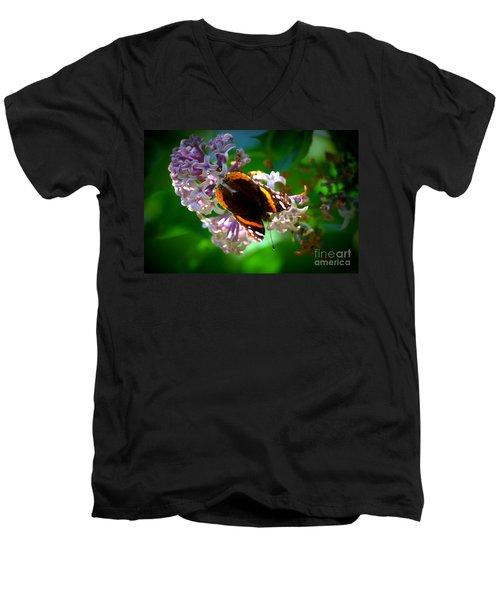 Butterfly On Lilac Men's V-Neck T-Shirt