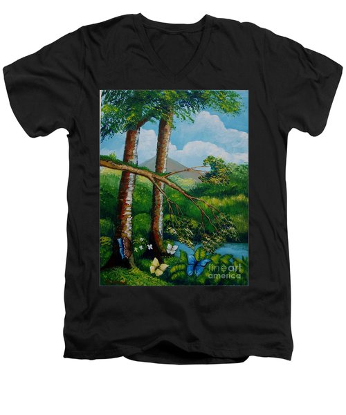 Butterflyes On The Wild Men's V-Neck T-Shirt