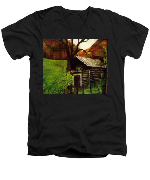 Men's V-Neck T-Shirt featuring the painting Cabin By A Hillside by Christy Saunders Church