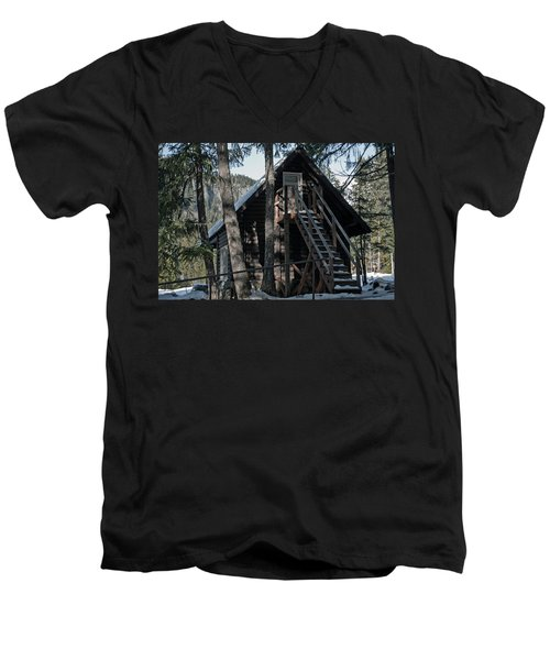 Cabin Get Away Men's V-Neck T-Shirt by Tikvah's Hope