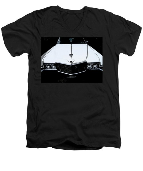 Men's V-Neck T-Shirt featuring the photograph Cadillac Pimp Mobile by Kym Backland