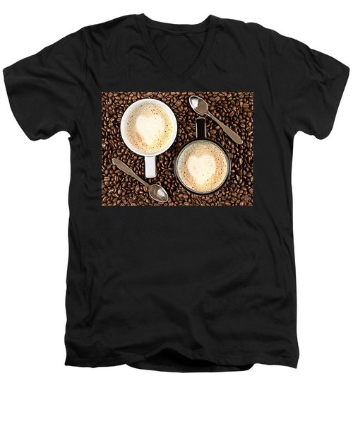 Men's V-Neck T-Shirt featuring the photograph Caffe Latte For Two by Gert Lavsen