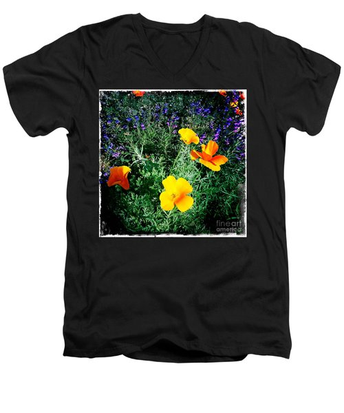 Men's V-Neck T-Shirt featuring the photograph California Poppy by Nina Prommer