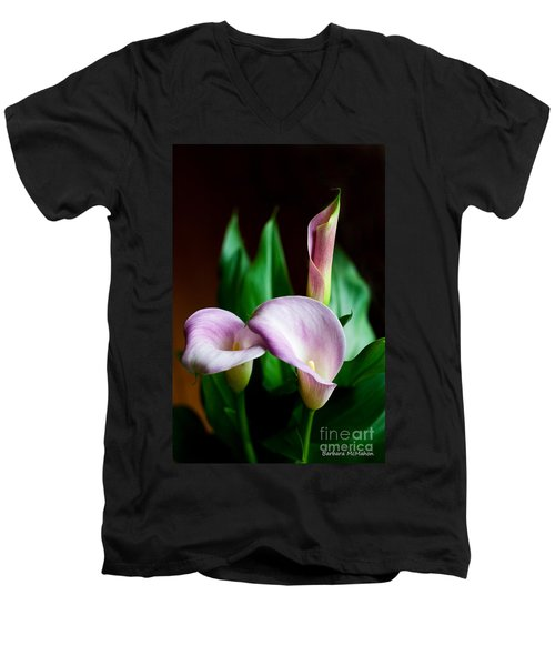 Men's V-Neck T-Shirt featuring the photograph Calla Lily by Barbara McMahon