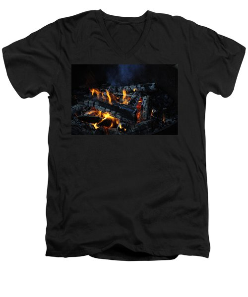 Men's V-Neck T-Shirt featuring the photograph Campfire by Fran Riley